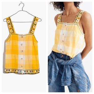 Madewell Embroidered Check Cami Button Top Small